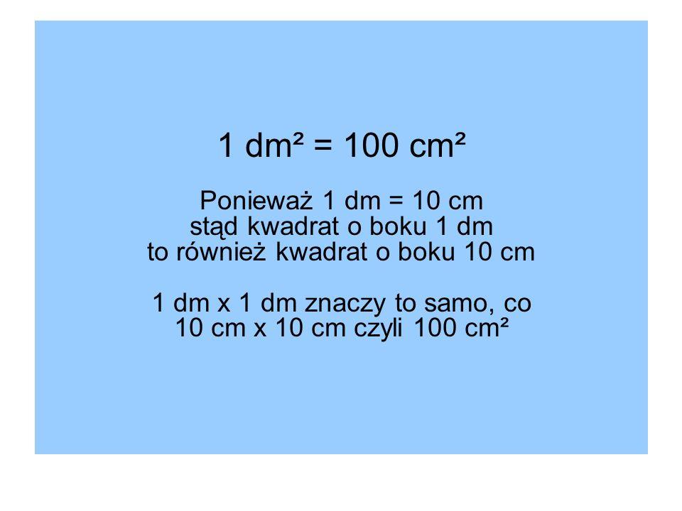 1 dm² = 100 cm² Ponieważ 1 dm = 10 cm stąd kwadrat o boku 1 dm to również kwadrat o boku 10 cm 1 dm x 1 dm znaczy to samo, co 10 cm x 10 cm czyli 100