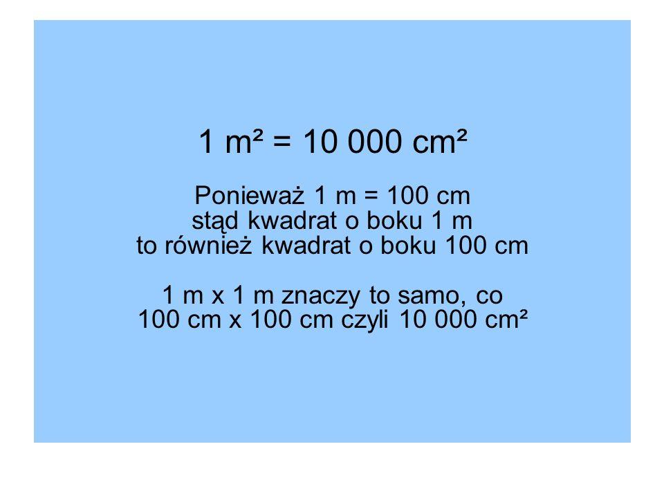 1 m² = 10 000 cm² Ponieważ 1 m = 100 cm stąd kwadrat o boku 1 m to również kwadrat o boku 100 cm 1 m x 1 m znaczy to samo, co 100 cm x 100 cm czyli 10