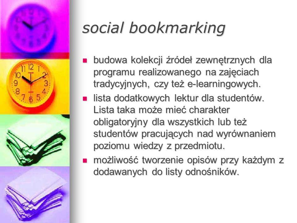 social bookmarking budowa kolekcji źródeł zewnętrznych dla programu realizowanego na zajęciach tradycyjnych, czy też e-learningowych. budowa kolekcji