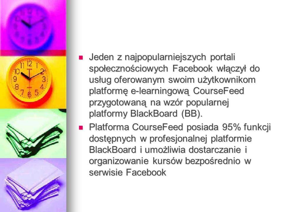 Jeden z najpopularniejszych portali społecznościowych Facebook włączył do usług oferowanym swoim użytkownikom platformę e-learningową CourseFeed przyg
