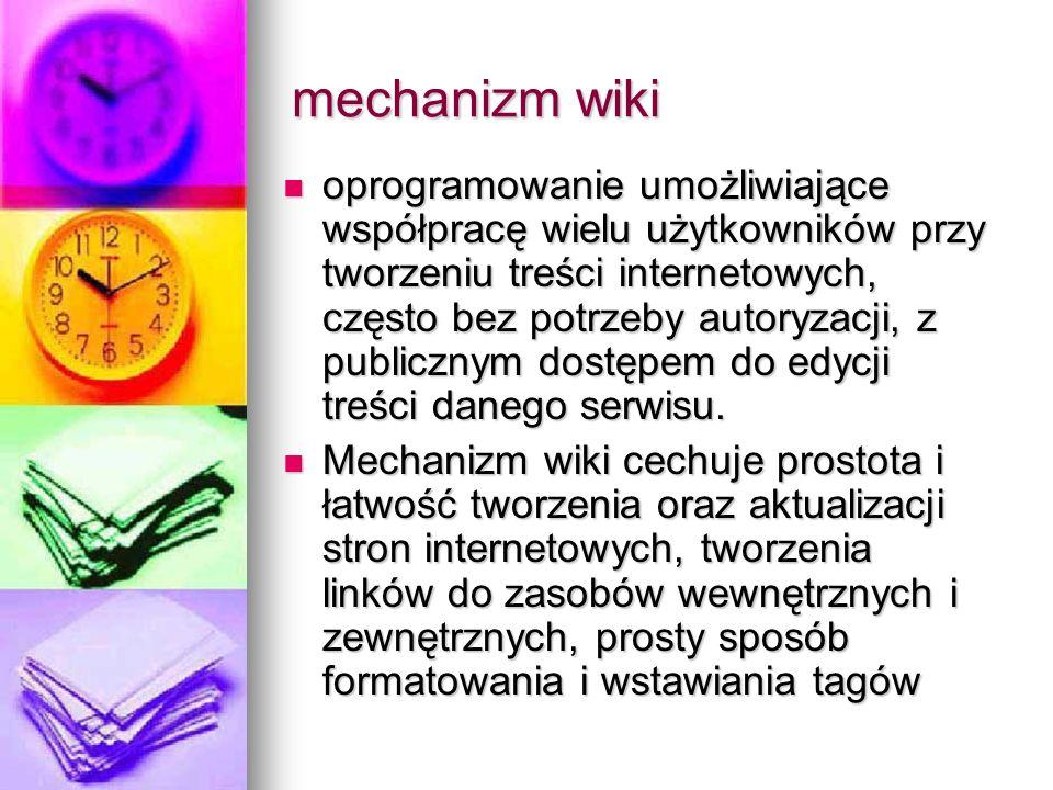 mechanizm wiki oprogramowanie umożliwiające współpracę wielu użytkowników przy tworzeniu treści internetowych, często bez potrzeby autoryzacji, z publ