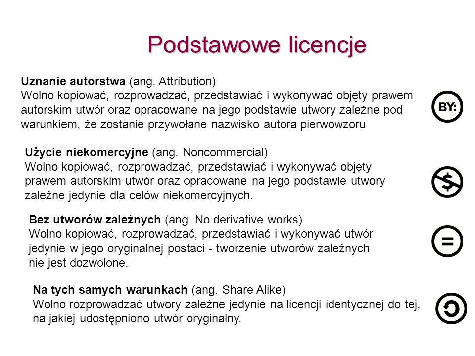 Podstawowe licencje Uznanie autorstwa (ang. Attribution) Wolno kopiować, rozprowadzać, przedstawiać i wykonywać objęty prawem autorskim utwór oraz opr