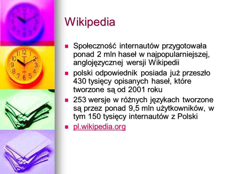 Wikipedia Społeczność internautów przygotowała ponad 2 mln haseł w najpopularniejszej, anglojęzycznej wersji Wikipedii Społeczność internautów przygot