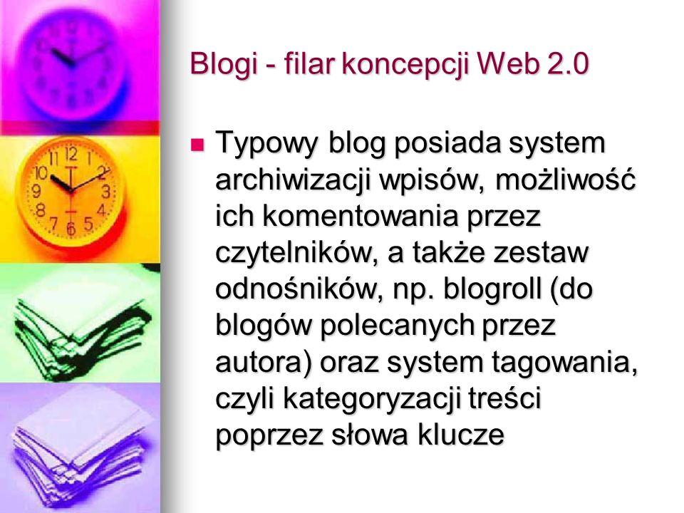 Blogi - filar koncepcji Web 2.0 Typowy blog posiada system archiwizacji wpisów, możliwość ich komentowania przez czytelników, a także zestaw odnośnikó