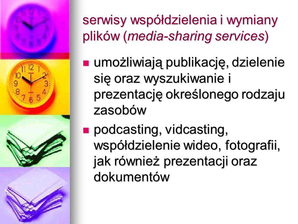 serwisy współdzielenia i wymiany plików (media-sharing services) umożliwiają publikację, dzielenie się oraz wyszukiwanie i prezentację określonego rod