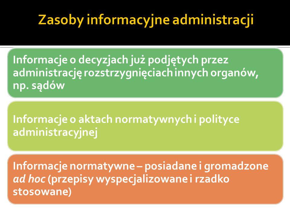 Informacje o decyzjach już podjętych przez administrację rozstrzygnięciach innych organów, np.