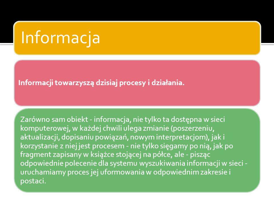 Ze względu na kryterium dostępności, wyróżniamy: Informacje powszechnie dostępne – jawne Informacje, do których dostęp jest ograniczony Ze względu na kryterium czasu, wyróżniamy: Informacje aktualne Materiały archiwalne Prognozy i plany