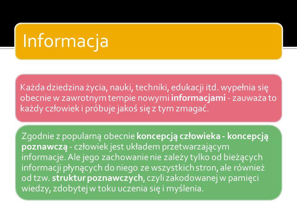 Informacja Każda dziedzina życia, nauki, techniki, edukacji itd.