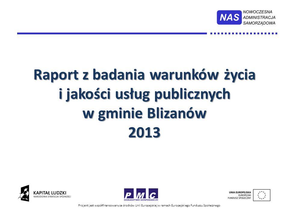 Projekt jest współfinansowany ze środków Unii Europejskiej w ramach Europejskiego Funduszu Społecznego Raport z badania warunków życia i jakości usług