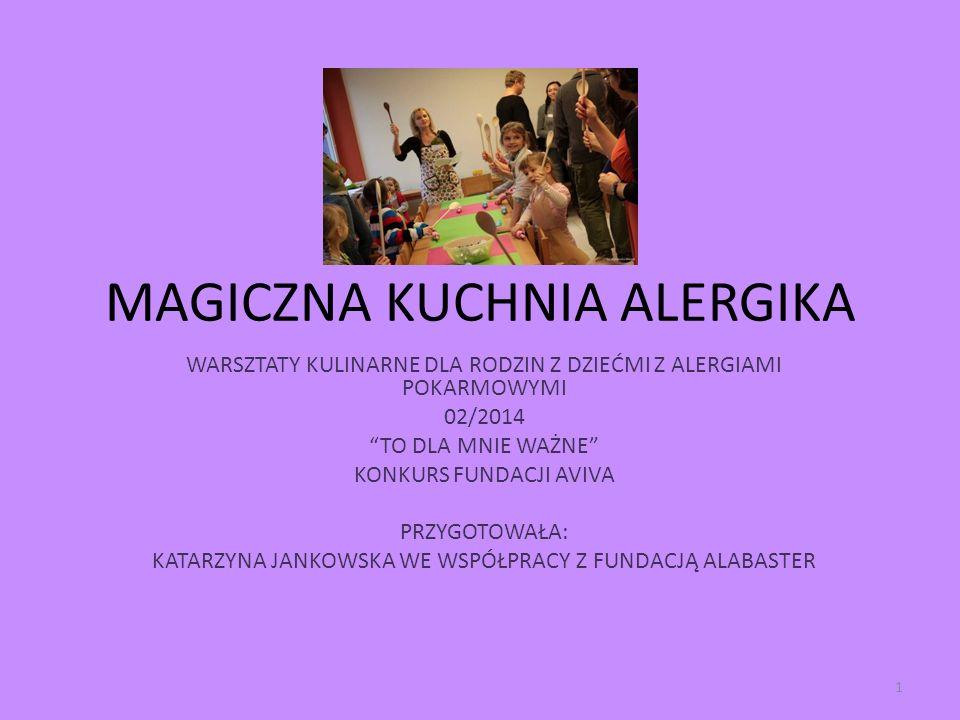 MAGICZNA KUCHNIA ALERGIKA WARSZTATY KULINARNE DLA RODZIN Z DZIEĆMI Z ALERGIAMI POKARMOWYMI 02/2014 TO DLA MNIE WAŻNE KONKURS FUNDACJI AVIVA PRZYGOTOWA