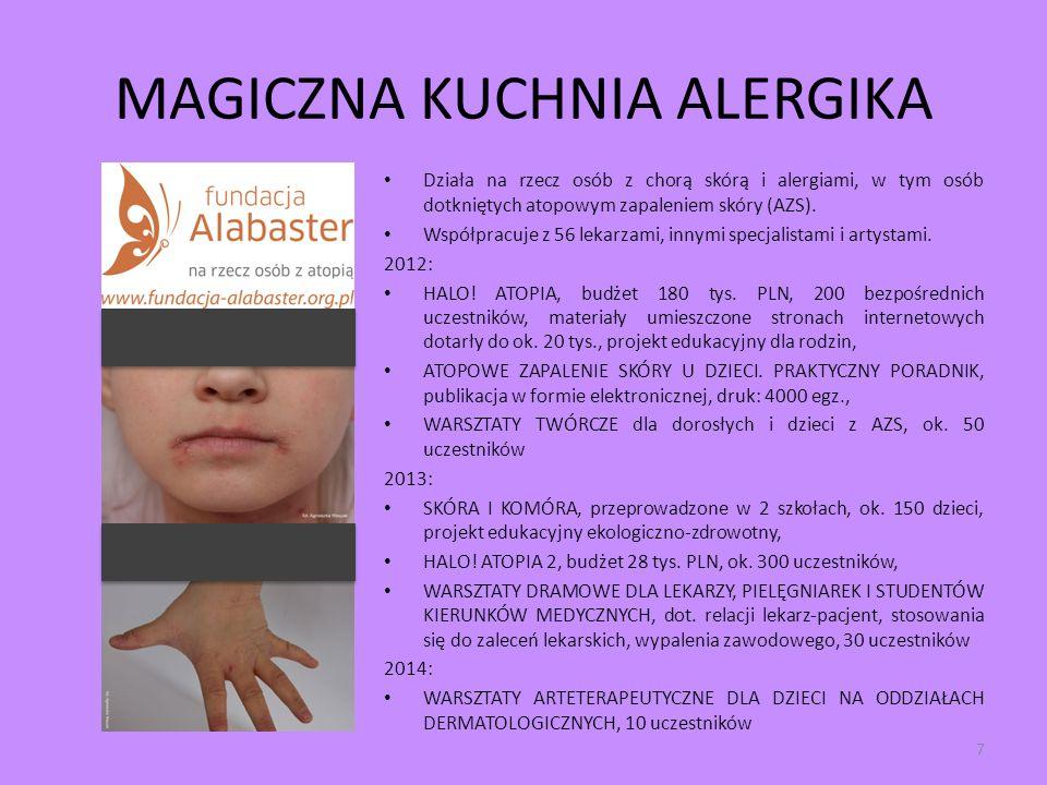 MAGICZNA KUCHNIA ALERGIKA Działa na rzecz osób z chorą skórą i alergiami, w tym osób dotkniętych atopowym zapaleniem skóry (AZS). Współpracuje z 56 le