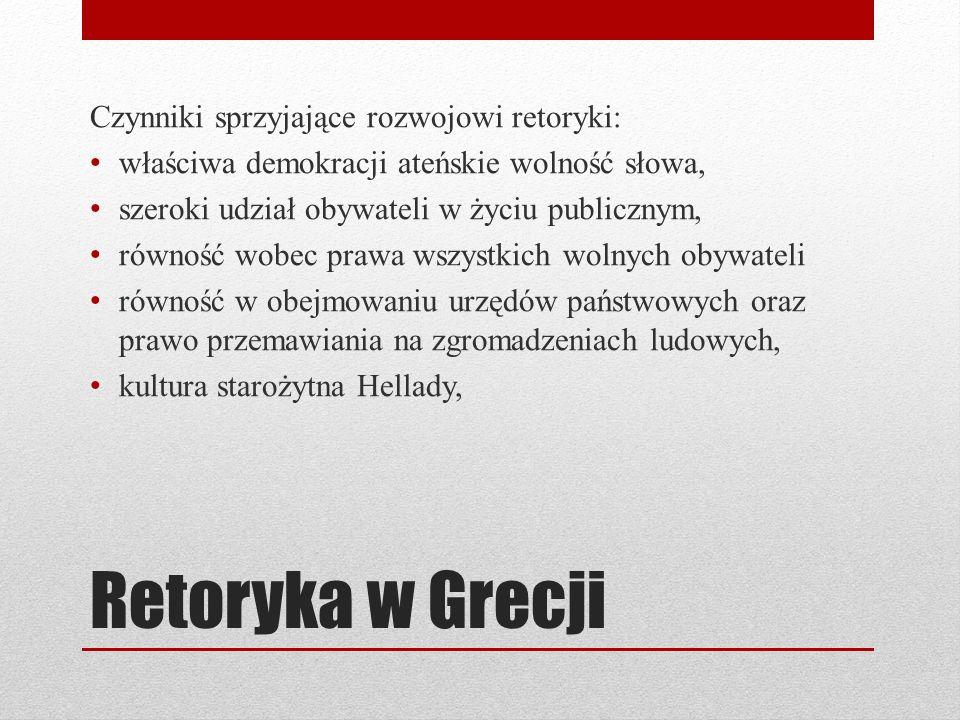 Retoryka w Grecji Czynniki sprzyjające rozwojowi retoryki: właściwa demokracji ateńskie wolność słowa, szeroki udział obywateli w życiu publicznym, równość wobec prawa wszystkich wolnych obywateli równość w obejmowaniu urzędów państwowych oraz prawo przemawiania na zgromadzeniach ludowych, kultura starożytna Hellady,