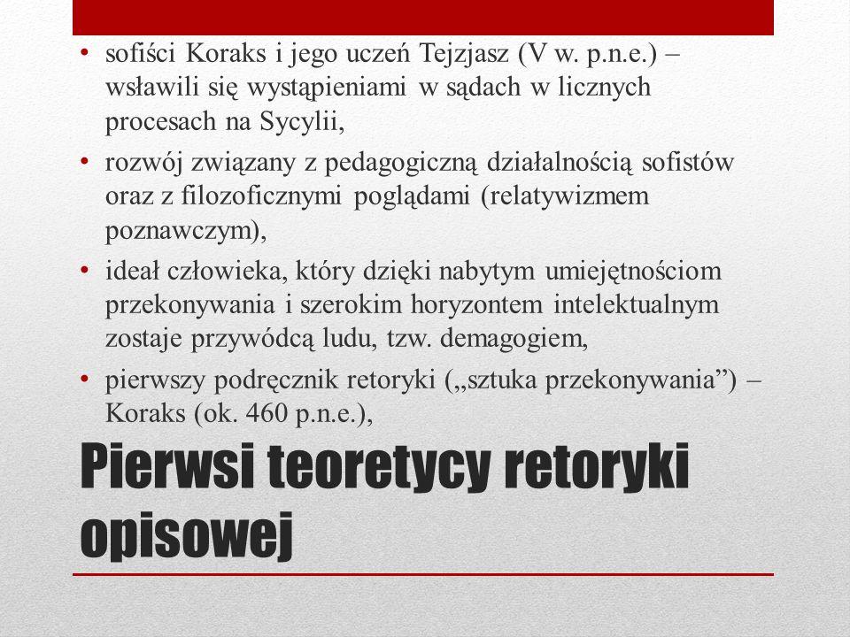 Pierwsi teoretycy retoryki opisowej sofiści Koraks i jego uczeń Tejzjasz (V w. p.n.e.) – wsławili się wystąpieniami w sądach w licznych procesach na S