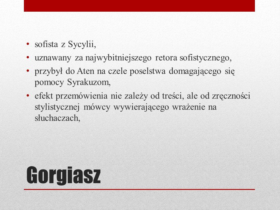 Gorgiasz sofista z Sycylii, uznawany za najwybitniejszego retora sofistycznego, przybył do Aten na czele poselstwa domagającego się pomocy Syrakuzom,