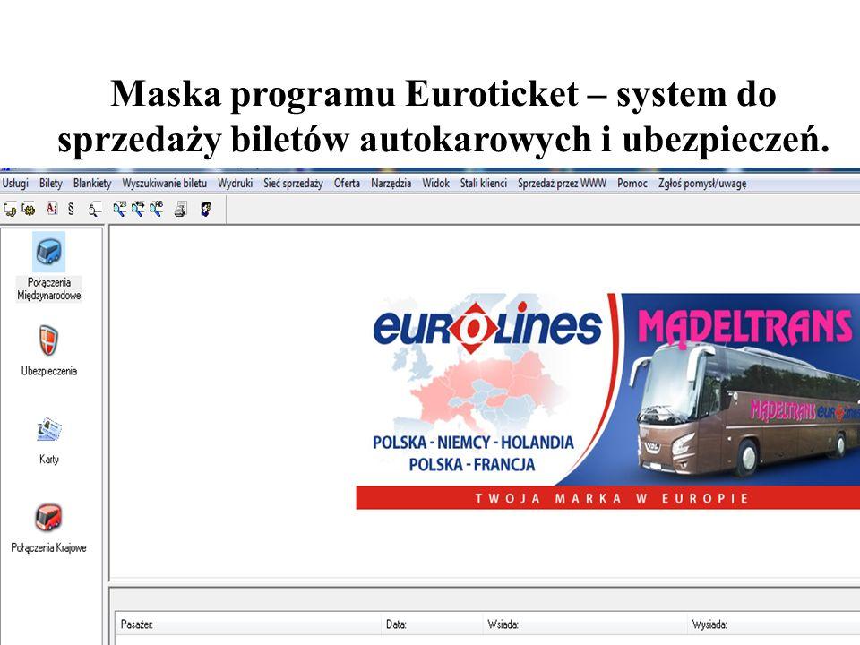 Maska programu Euroticket – system do sprzedaży biletów autokarowych i ubezpieczeń.