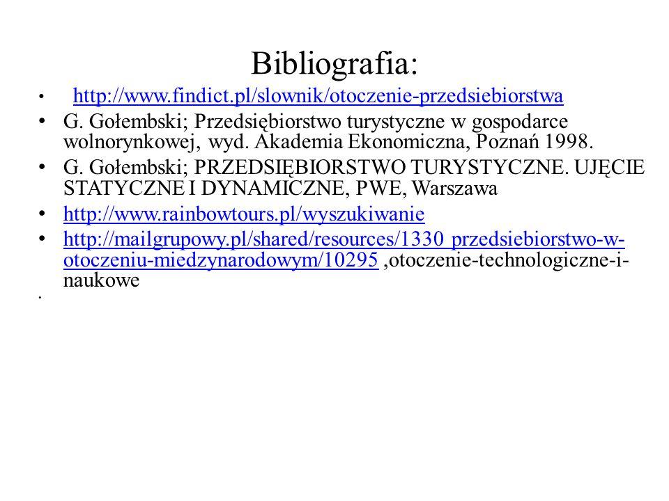 Bibliografia: http://www.findict.pl/slownik/otoczenie-przedsiebiorstwa G. Gołembski; Przedsiębiorstwo turystyczne w gospodarce wolnorynkowej, wyd. Aka