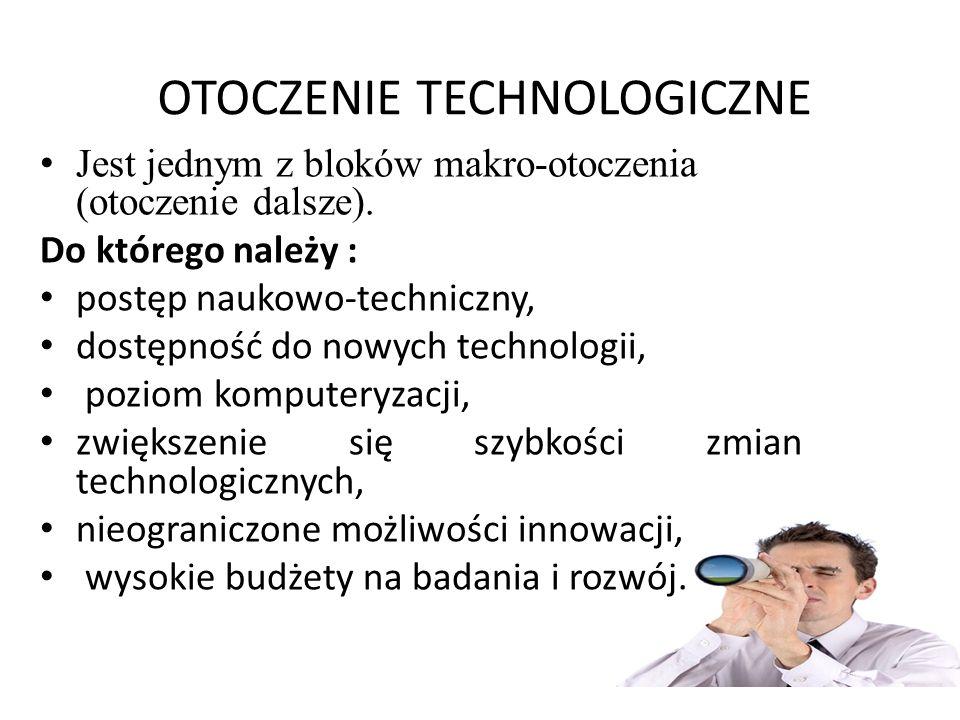 OTOCZENIE TECHNOLOGICZNE Jest jednym z bloków makro-otoczenia (otoczenie dalsze). Do którego należy : postęp naukowo-techniczny, dostępność do nowych