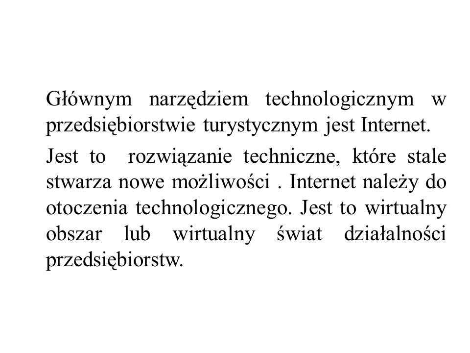 Głównym narzędziem technologicznym w przedsiębiorstwie turystycznym jest Internet. Jest to rozwiązanie techniczne, które stale stwarza nowe możliwości