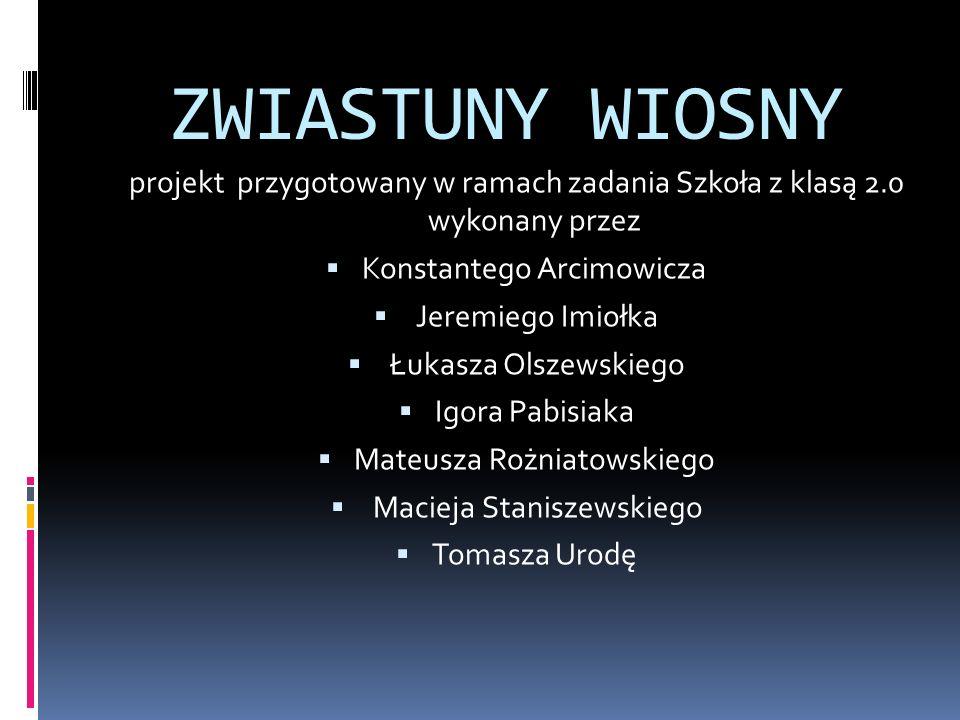 ZWIASTUNY WIOSNY projekt przygotowany w ramach zadania Szkoła z klasą 2.0 wykonany przez Konstantego Arcimowicza Jeremiego Imiołka Łukasza Olszewskieg