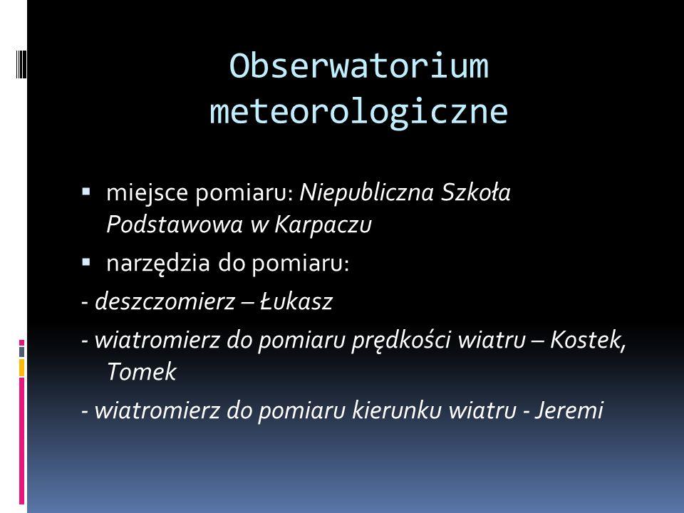 Obserwatorium meteorologiczne miejsce pomiaru: Niepubliczna Szkoła Podstawowa w Karpaczu narzędzia do pomiaru: - deszczomierz – Łukasz - wiatromierz d