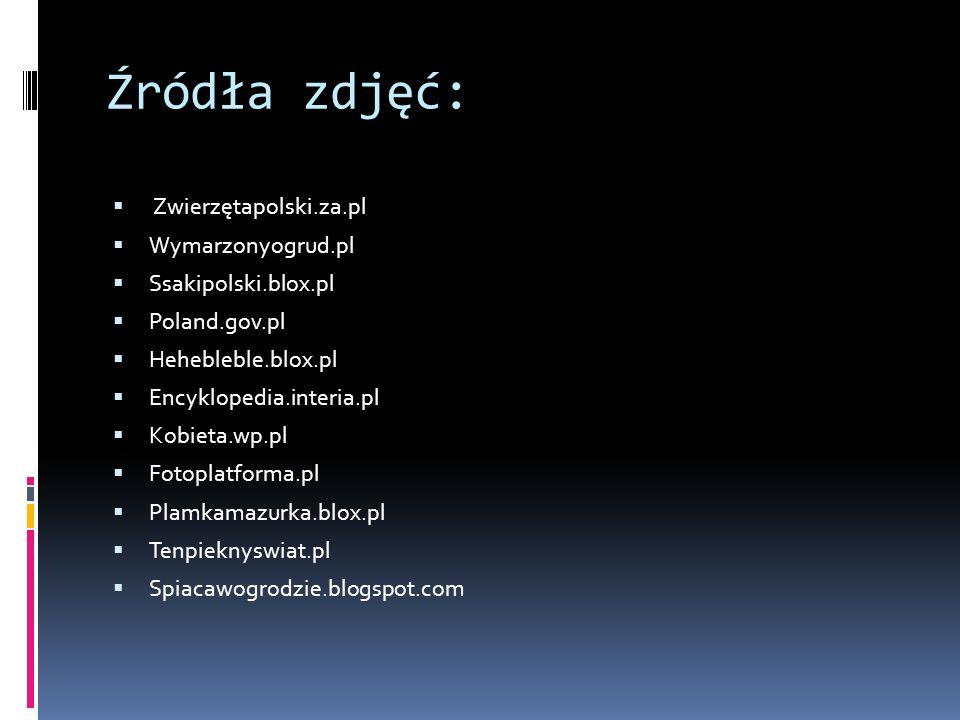 Źródła zdjęć: Zwierzętapolski.za.pl Wymarzonyogrud.pl Ssakipolski.blox.pl Poland.gov.pl Hehebleble.blox.pl Encyklopedia.interia.pl Kobieta.wp.pl Fotop