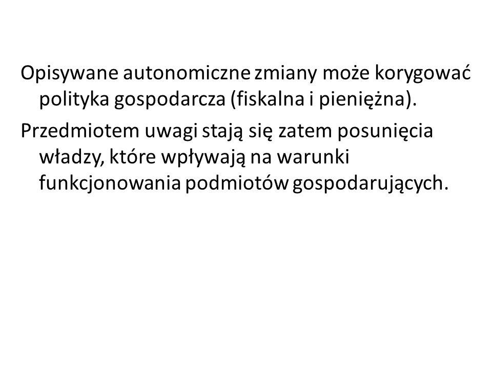 Opisywane autonomiczne zmiany może korygować polityka gospodarcza (fiskalna i pieniężna). Przedmiotem uwagi stają się zatem posunięcia władzy, które w
