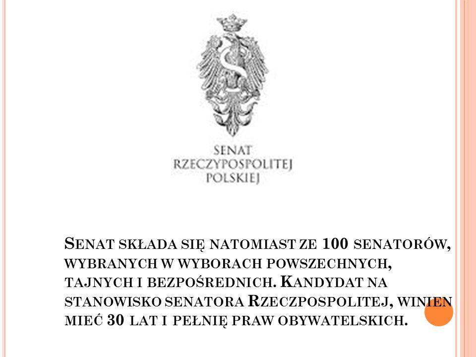 S KRÓCENIE KADENCJI S EJMU I S ENATU, MOŻE NASTĄPIĆ WÓWCZAS, GDY : Sejm samodzielnie podejmie taką uchwałę, ale tylko w obecności 2/3 głosów, wszystkich posłów Decyzją prezydenta, jeżeli nowy rząd, trzykrotnie nie otrzymałby od Sejmu votum zaufania Decyzją prezydenta, jeżeli nie w ciągu czterech miesięcy, nie zapadłaby decyzja o przegłosowaniu ustawy budżetowej