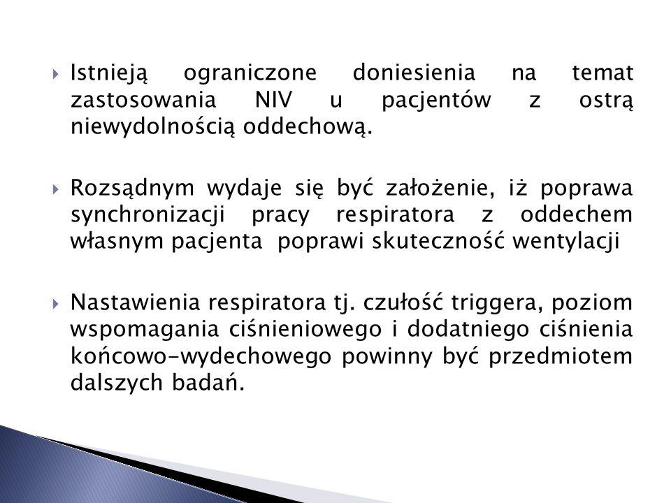 Istnieją ograniczone doniesienia na temat zastosowania NIV u pacjentów z ostrą niewydolnością oddechową. Rozsądnym wydaje się być założenie, iż popraw
