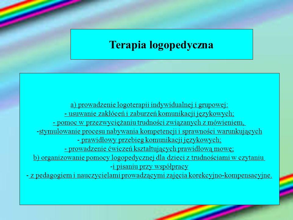 Terapia logopedyczna a) prowadzenie logoterapii indywidualnej i grupowej: - usuwanie zakłóceń i zaburzeń komunikacji językowych; - pomoc w przezwycięż