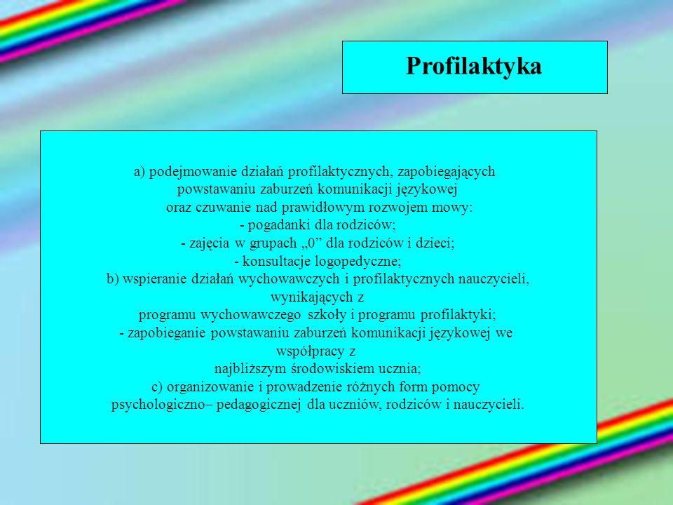 Profilaktyka a) podejmowanie działań profilaktycznych, zapobiegających powstawaniu zaburzeń komunikacji językowej oraz czuwanie nad prawidłowym rozwoj