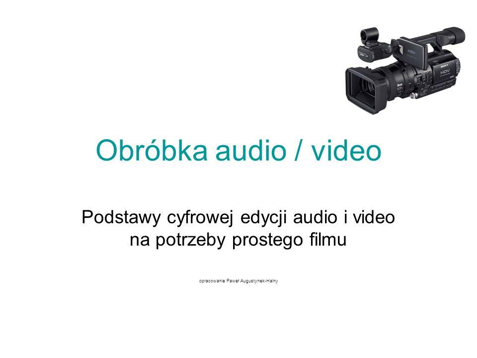 Wstęp Urządzenia i narzędzia niezbędne przy obróbce audio/video: Materiał video i audio (kaseta, plik audio/video, płyta cd) Odtwarzacz (kamera, magnetowid, program do odtwarzania plików) Karta do zgrywania obrazu z kasety na dysk twardy Program do przechwytywania obrazu z kasety do pliku Program do zgrywania dźwięku z płyty cd do pliku audio Program do montażu filmowego (edytor) Program do nagrywania płyt cd/dvd Program do authoringu DVD (przygotowanie menu) Magnetowid lub kamera z opcją nagrywania przez wejście kablowe