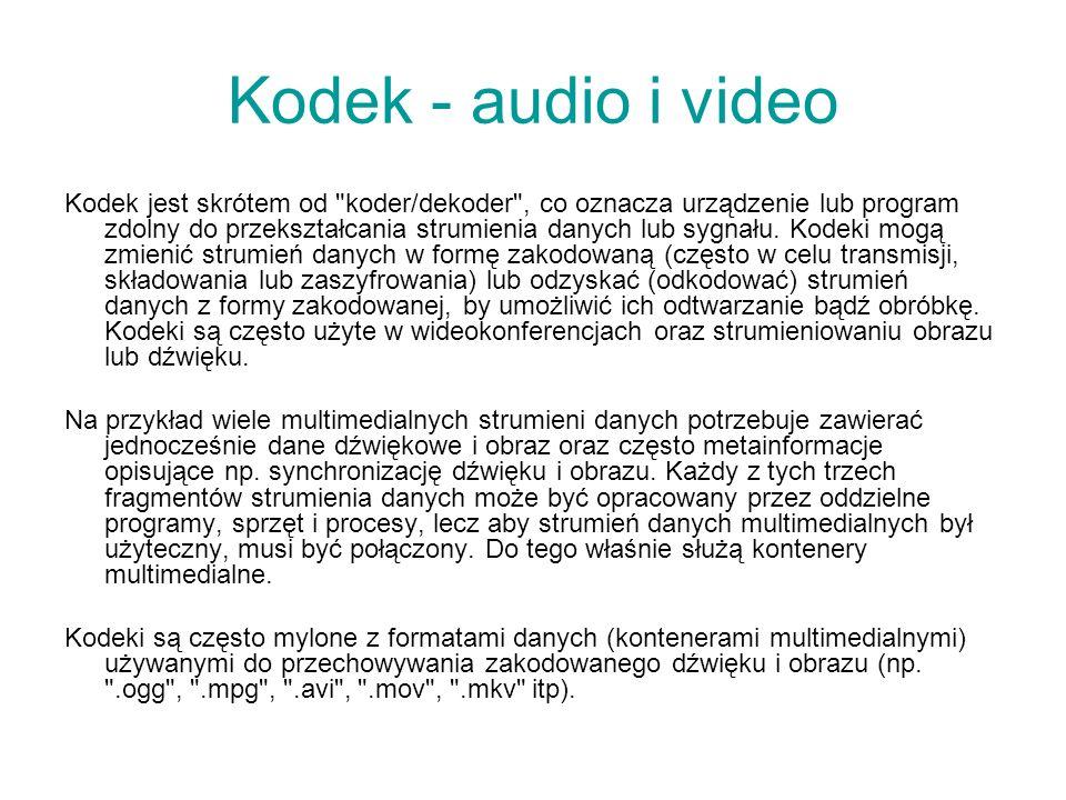 Kodek - audio i video Kodek jest skrótem od