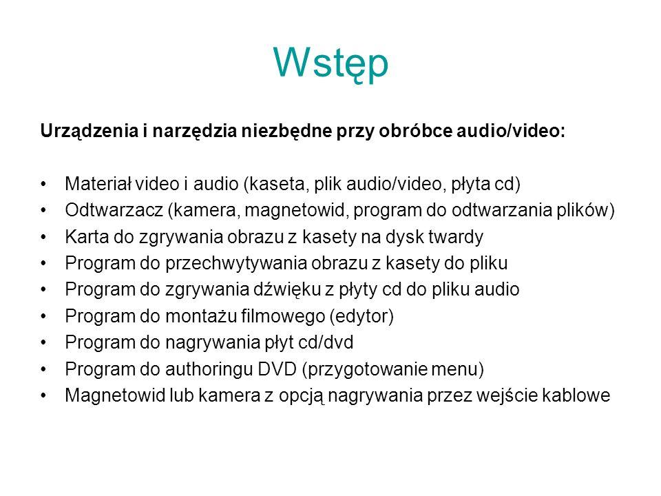 Wstęp Urządzenia i narzędzia niezbędne przy obróbce audio/video: Materiał video i audio (kaseta, plik audio/video, płyta cd) Odtwarzacz (kamera, magne