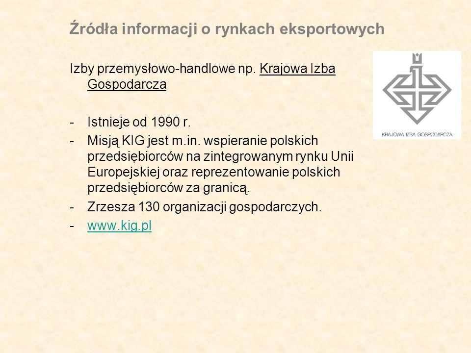 Źródła informacji o rynkach eksportowych Izby przemysłowo-handlowe np.