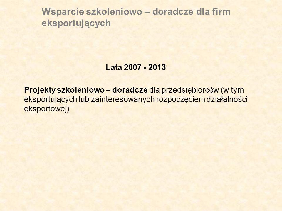 Wsparcie szkoleniowo – doradcze dla firm eksportujących Lata 2007 - 2013 Projekty szkoleniowo – doradcze dla przedsiębiorców (w tym eksportujących lub zainteresowanych rozpoczęciem działalności eksportowej)