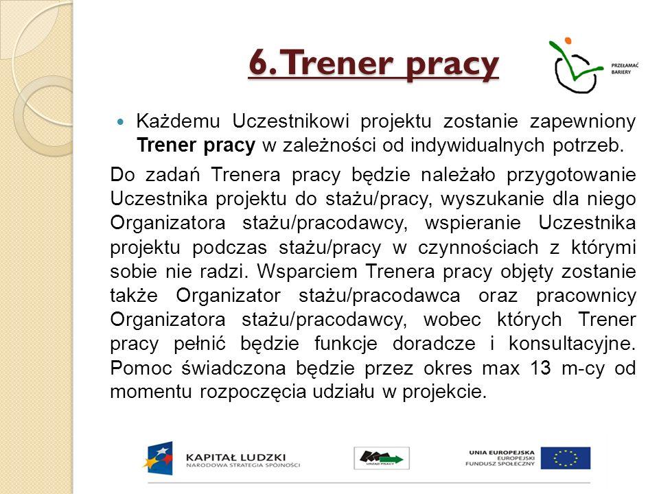6. Trener pracy Każdemu Uczestnikowi projektu zostanie zapewniony Trener pracy w zależności od indywidualnych potrzeb. Do zadań Trenera pracy będzie n