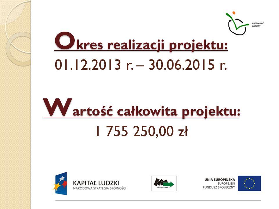 O kres realizacji projektu: W artość całkowita projektu: O kres realizacji projektu: 01.12.2013 r. – 30.06.2015 r. W artość całkowita projektu: 1 755