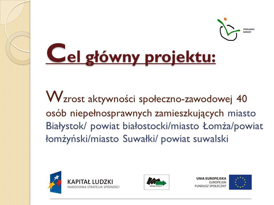 C el główny projektu: C el główny projektu: W zrost aktywności społeczno-zawodowej 40 osób niepełnosprawnych zamieszkujących miasto Białystok/ powiat