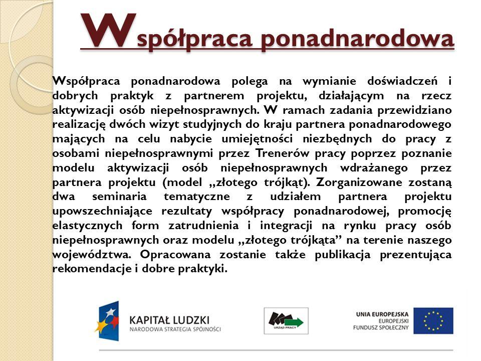 Odbiorcy projektu Uczestnikiem projektu może zostać osoba fizyczna, która spełnia łącznie następujące kryteria formalne: 1) posiada status osoby bezrobotnej (status weryfikowany będzie na podstawie zaświadczenia wydanego przez właściwy ze względu na miejsce zameldowania stałego lub czasowego kandydata na uczestnika projektu powiatowy urząd pracy), 2) jest w wieku do 64 lat, 3) zamieszkuje jeden z następujących powiatów: miasto Białystok, powiat białostocki, miasto Łomża, powiat łomżyński, miasto Suwałki, powiat suwalski – w rozumieniu Kodeksu Cywilnego, 4) jest osobą niepełnosprawną w stopniu lekkim lub umiarkowanym (potwierdzenie o niepełnosprawności weryfikowane będzie na podstawie złożonego przez Kandydata na Uczestnika projektu Orzeczenia o posiadanym stopniu niepełnosprawności lub innego dokumentu potwierdzającego niepełnosprawność), 5) złoży w wyznaczonym miejscu i terminie prawidłowo wypełniony Formularz zgłoszeniowy wraz z załącznikami, 6) deklaruje chęć podjęcia zatrudnienia.