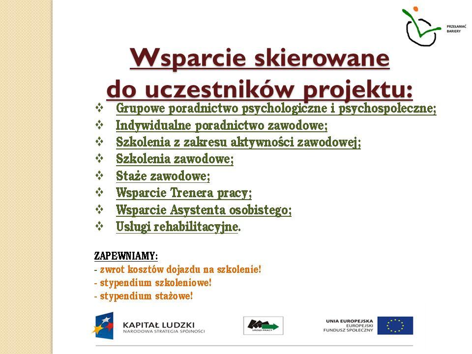 Wsparcie skierowane do uczestników projektu: