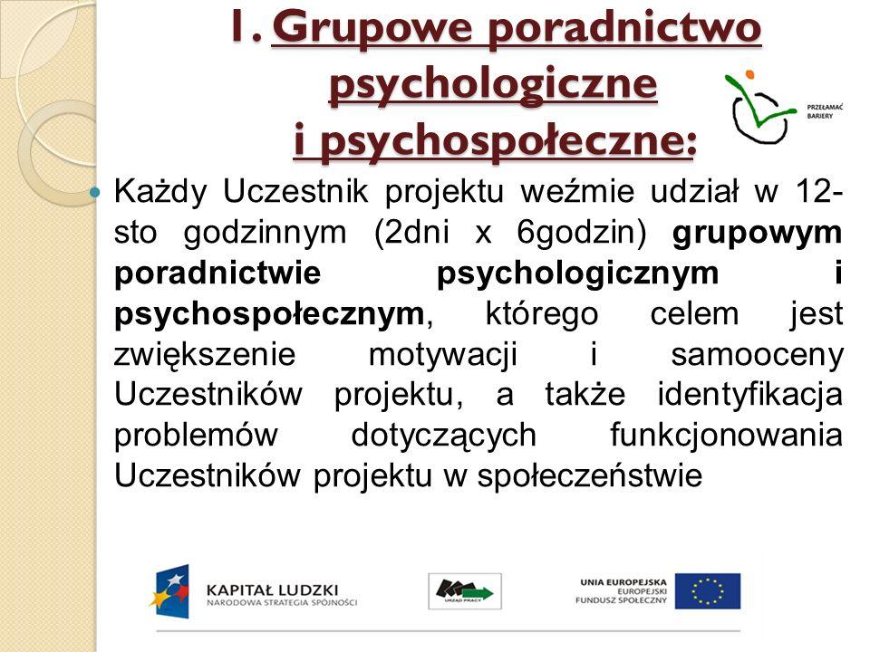 1. Grupowe poradnictwo psychologiczne i psychospołeczne: Każdy Uczestnik projektu weźmie udział w 12- sto godzinnym (2dni x 6godzin) grupowym poradnic