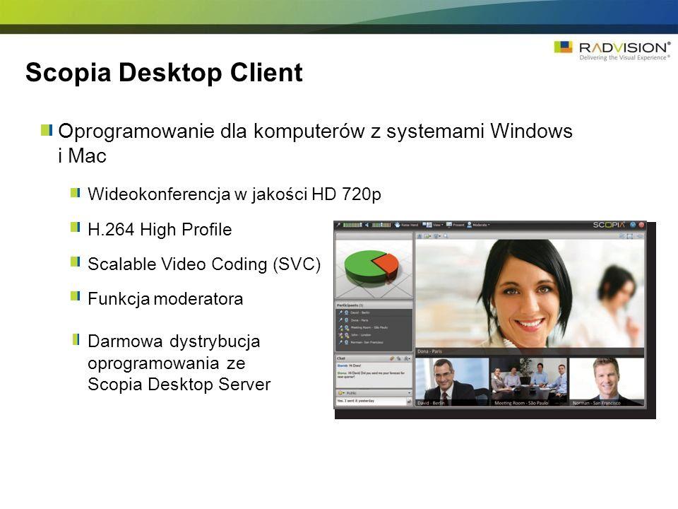 Oprogramowanie dla komputerów z systemami Windows i Mac Wideokonferencja w jakości HD 720p H.264 High Profile Scalable Video Coding (SVC) Funkcja mode
