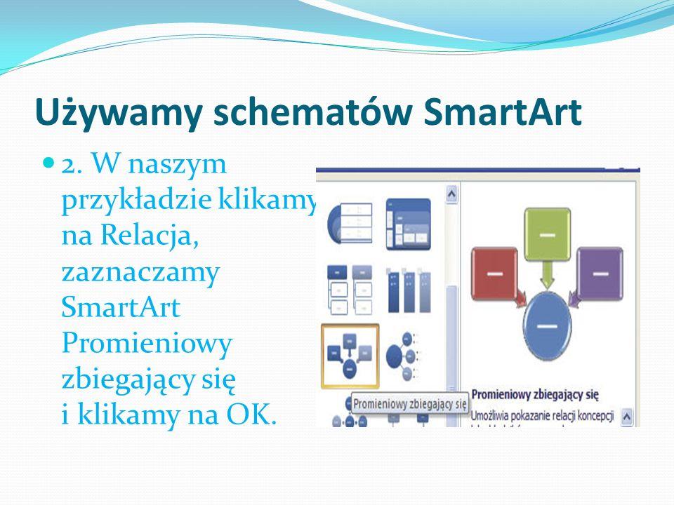 Używamy schematów SmartArt 2. W naszym przykładzie klikamy na Relacja, zaznaczamy SmartArt Promieniowy zbiegający się i klikamy na OK.