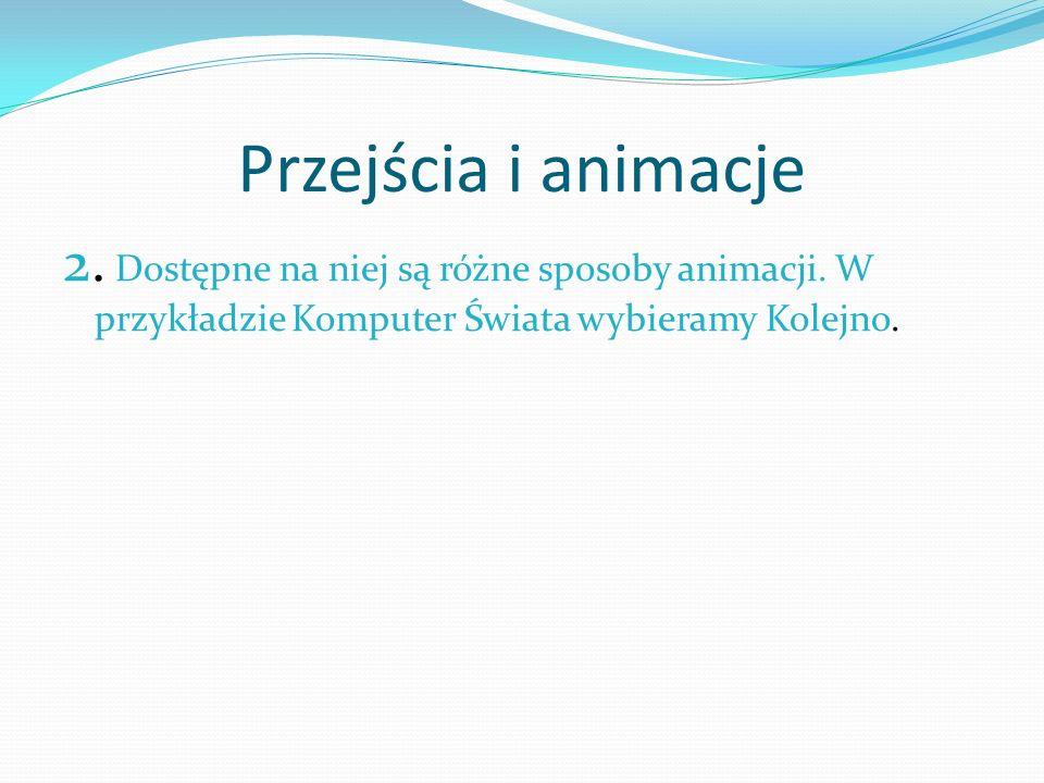 Przejścia i animacje 2.Dostępne na niej są różne sposoby animacji.