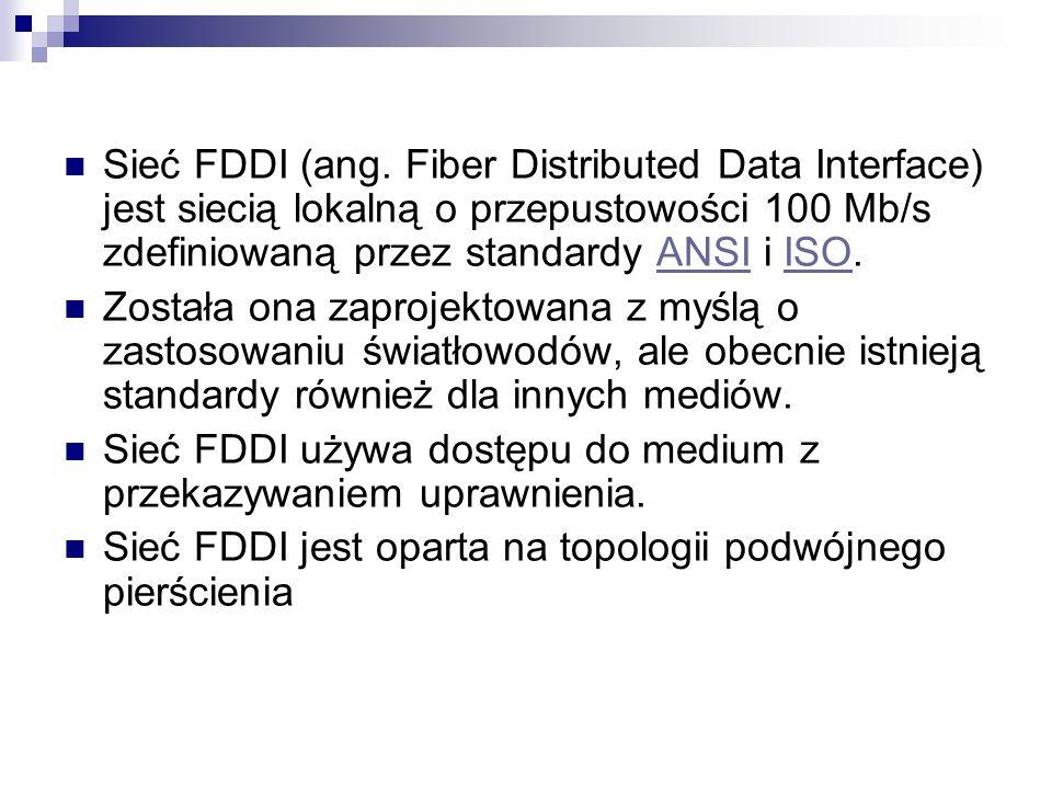 Sieć FDDI (ang. Fiber Distributed Data Interface) jest siecią lokalną o przepustowości 100 Mb/s zdefiniowaną przez standardy ANSI i ISO.ANSIISO Został