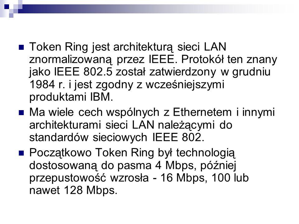 Token Ring jest architekturą sieci LAN znormalizowaną przez IEEE. Protokół ten znany jako IEEE 802.5 został zatwierdzony w grudniu 1984 r. i jest zgod