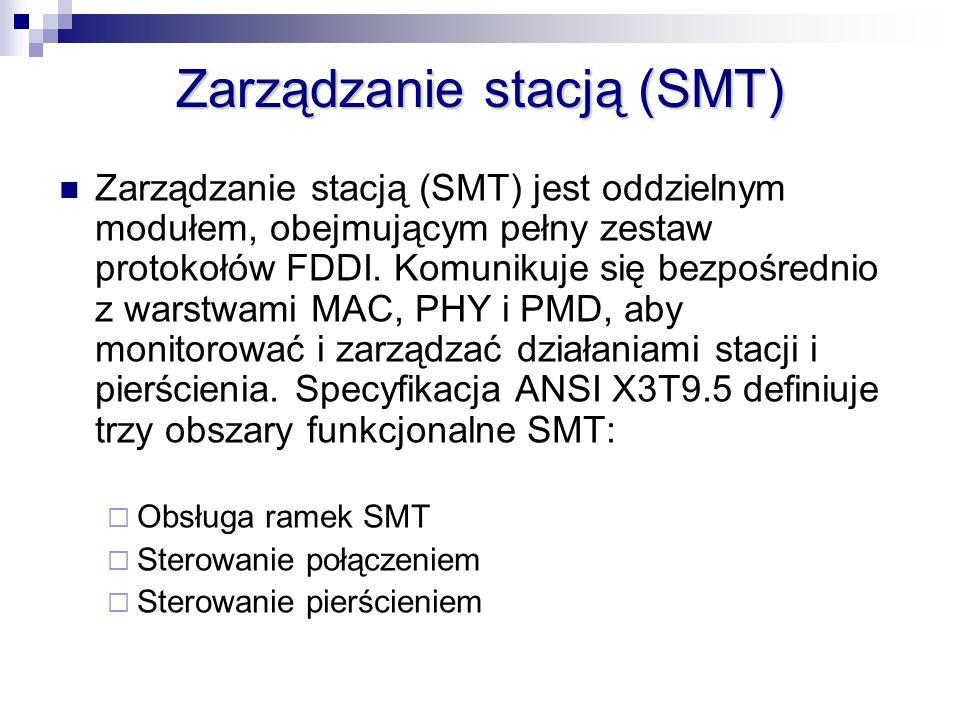 Zarządzanie stacją (SMT) jest oddzielnym modułem, obejmującym pełny zestaw protokołów FDDI. Komunikuje się bezpośrednio z warstwami MAC, PHY i PMD, ab