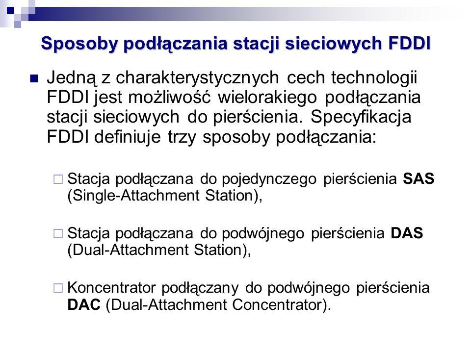 Jedną z charakterystycznych cech technologii FDDI jest możliwość wielorakiego podłączania stacji sieciowych do pierścienia. Specyfikacja FDDI definiuj