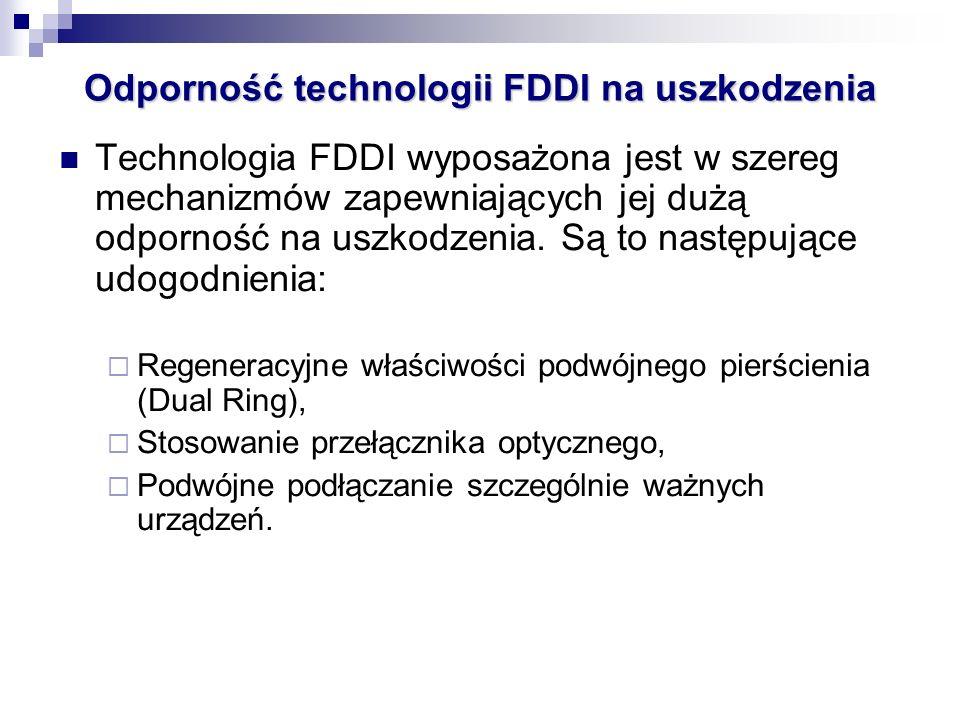 Technologia FDDI wyposażona jest w szereg mechanizmów zapewniających jej dużą odporność na uszkodzenia. Są to następujące udogodnienia: Regeneracyjne