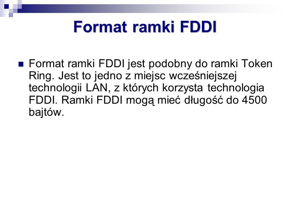 Format ramki FDDI jest podobny do ramki Token Ring. Jest to jedno z miejsc wcześniejszej technologii LAN, z których korzysta technologia FDDI. Ramki F